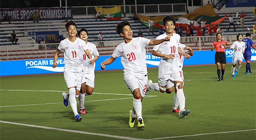 Myanmar's Yee Yee Oo (No. 20) celebrates the team's victory after scoring the winning goal in the match for the third place against the Philippines team yesterday at the Rizal Memorial Stadium in Manila, the Philippines.Photo: MFF