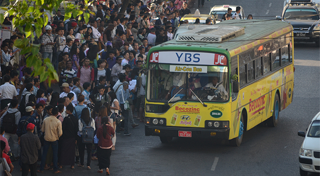 More than 1,500 buses will receive e-ticketing machines in Yangon very soon.Photo: Phoe Khwar
