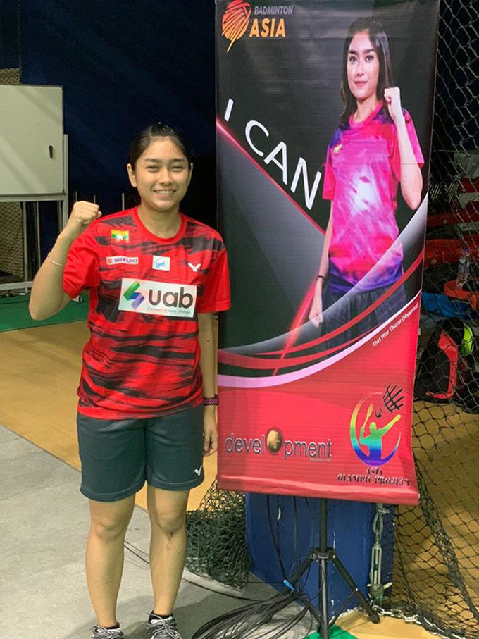 Myanmar badminton star Thet Htar Thuzar poses in front of her poster in Kuala Lumpur, where she is participating in the Asia Olympic Project.Photo: Badminton Asia Development