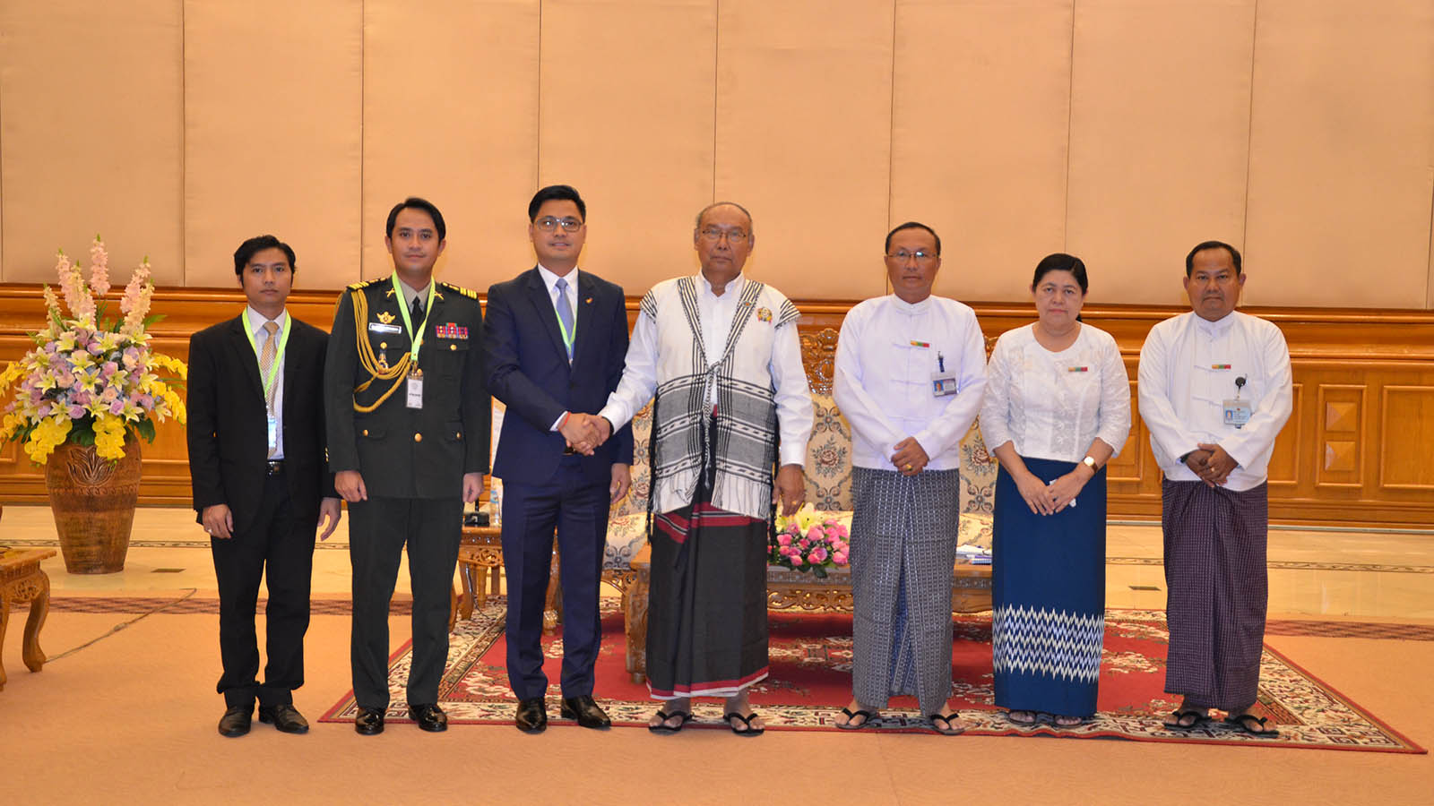 Amyotha Hluttaw Speaker  Mahn Win Khaing Than poses for a photo with Cambodian Ambassador Mr Chhouk Bunna in Nay Pyi Taw.Photo: MNA