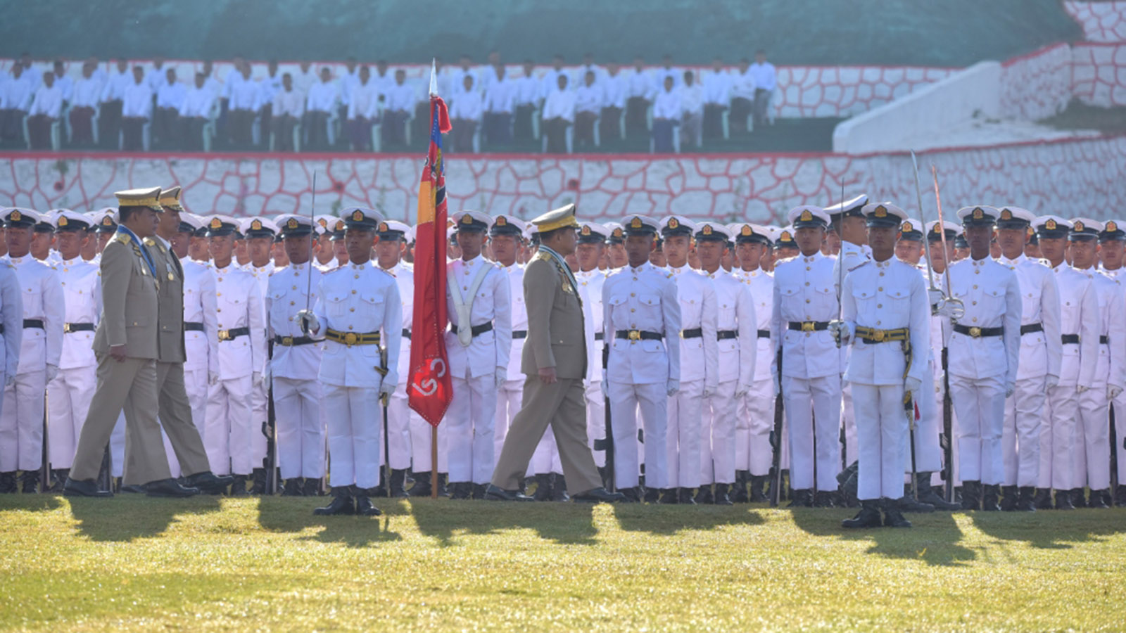 Senior General Min Aung Hlaing inspects graduation parade of the cadets of 61st Intake of the DSA in Pyin Oo Lwin.Photo: Office of the Commander-in-Chief