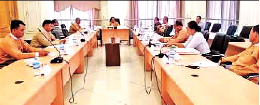 U Hla Myint (a) U Hla Myint Than, Chairman of the Amyotha Hluttaw Public Complaints Committee speaks during the coordination meeting of the committee.
