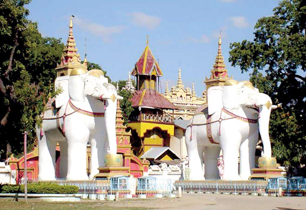 Two giant elephants at the entrance of Monyin Thanbuddhe.  Photo: Maung tha (archaeology)