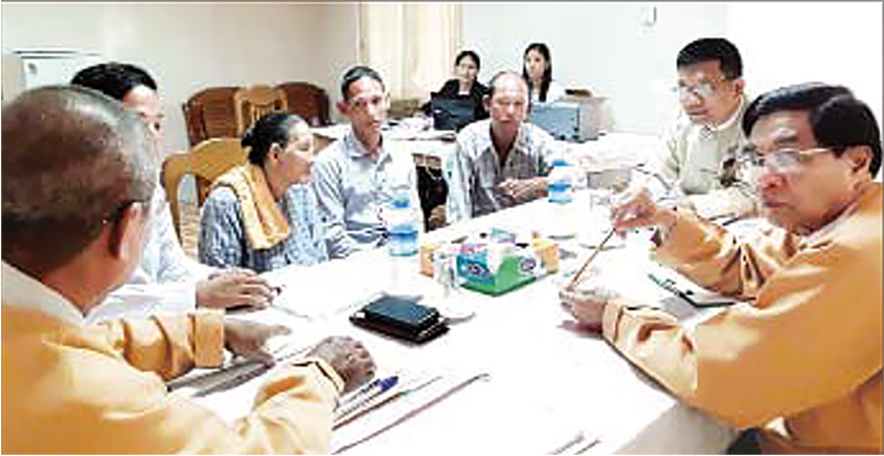 Amyotha Hluttaw Public Complaints Committee conducts its hearing in Bago on 1 April 2019.