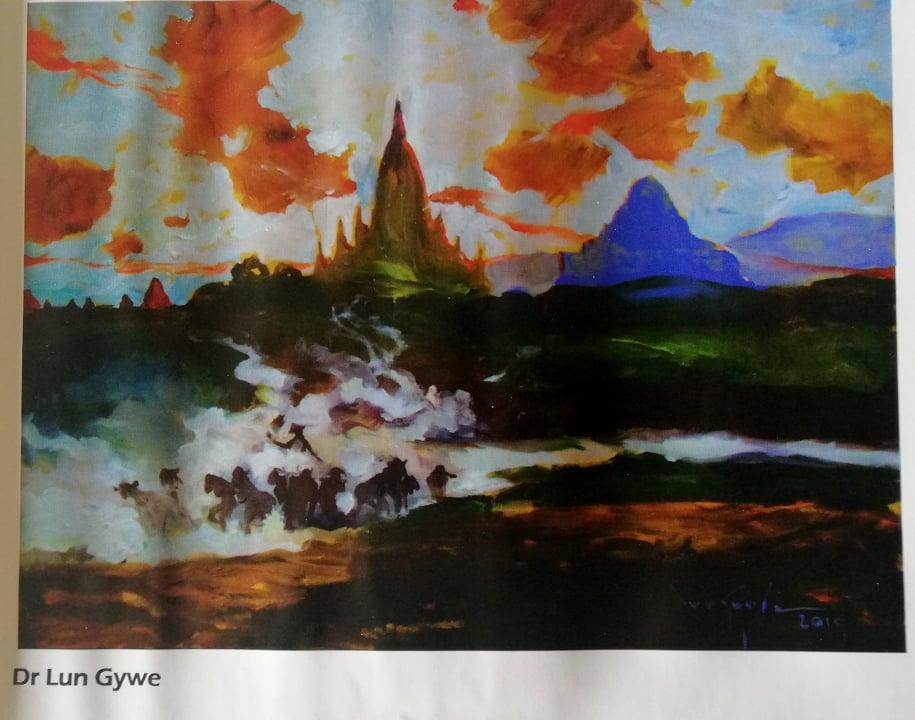 Bagan by Myanmar prominent impressionist Dr Lun Gywe.