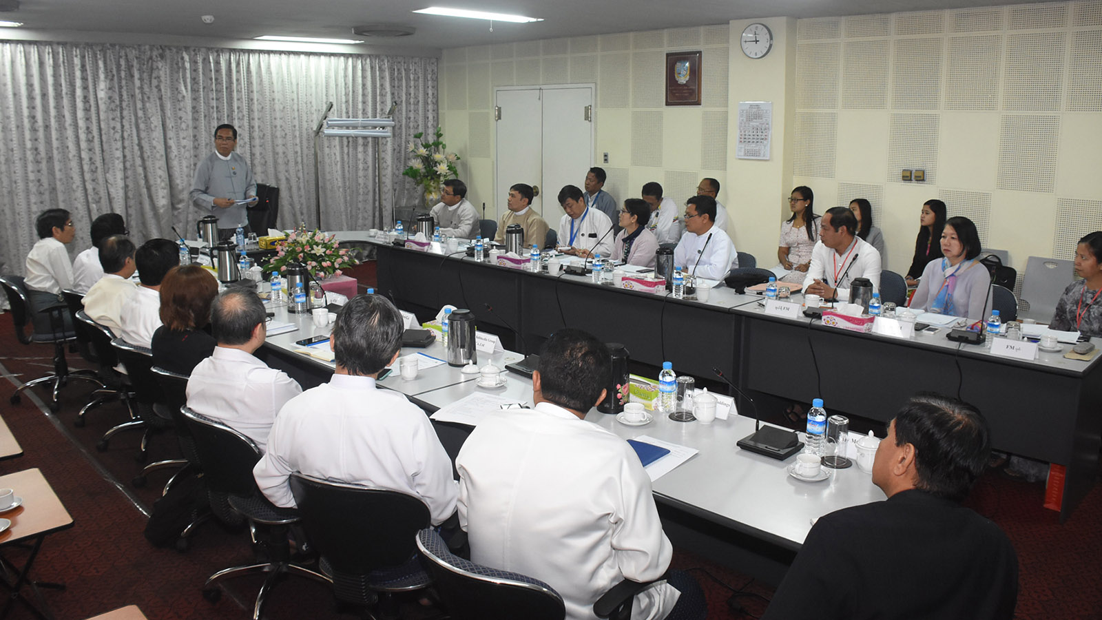 Deputy Minister U Aung Hla Tun addresses the Braodcasting Governing Body meeting in Yangon yesterday. Photo: MNA