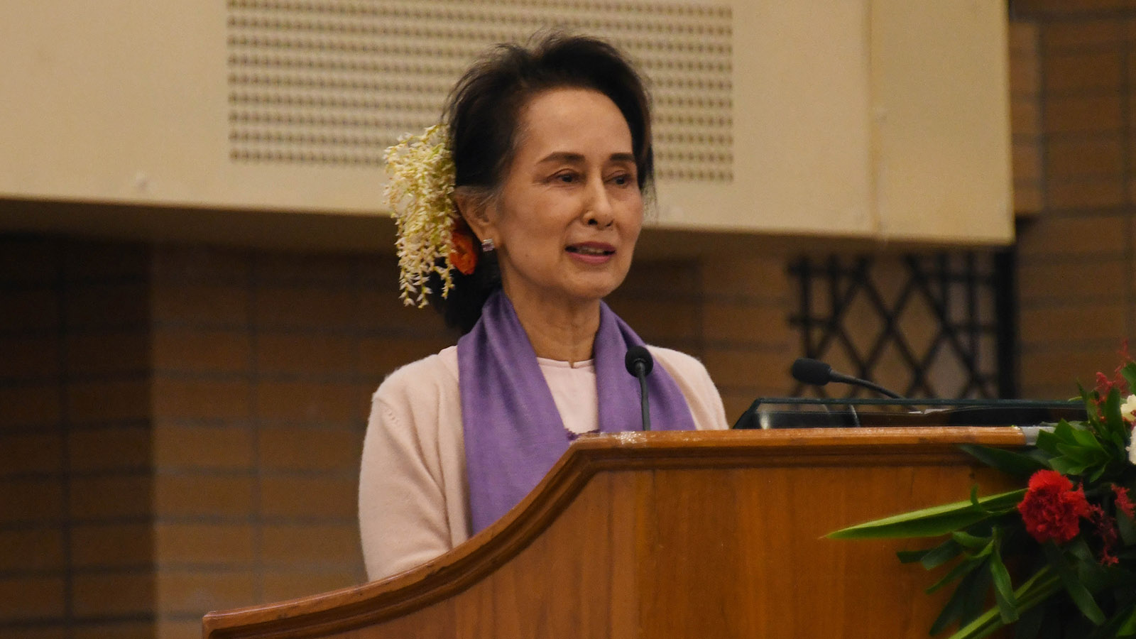 State Counsellor Daw Aung San Suu Kyi delivers the opening speech at the Education Development Implementation Conference 2020 (Basic Education Sector) in Nay Pyi Taw.Photo: MNA