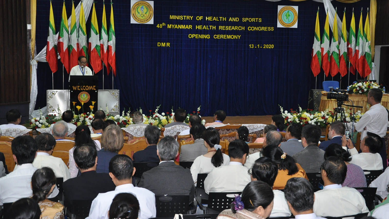 Union Minister Dr Myint Htwe delivers the speech at the opening ceremony of the 48th Myanmar Health Research Congress in Yangon yesterday. Photo: MNA