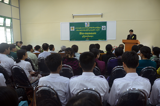 Dr Sanei Ichikawa from Japan Wildlife Research Centre delivers the speech at the opening ceremony of Bio Museum at the University of Forestry and Environmental Science (Yezin) in Nay Pyi Taw yesterday.Photo: MNA