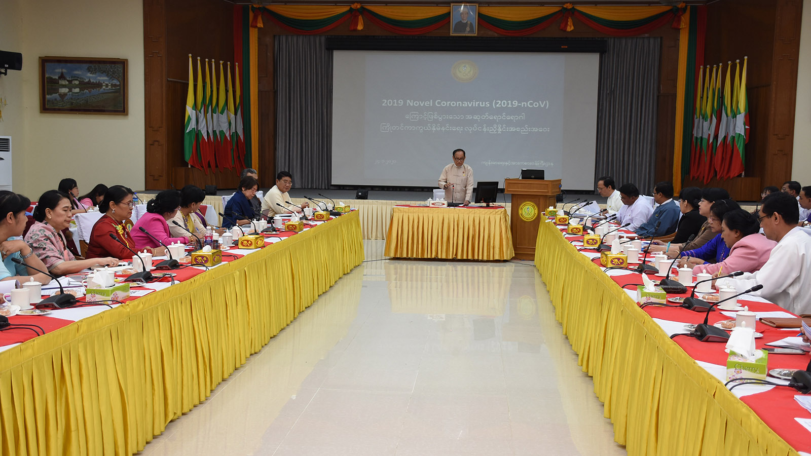 Union Minister Dr Myint Htwe addresses the work coordination meeting for prevention 2019 Novel Coronavirus (2019 nCoV) in Nay Pyi Taw yesterday. Photo: MNA