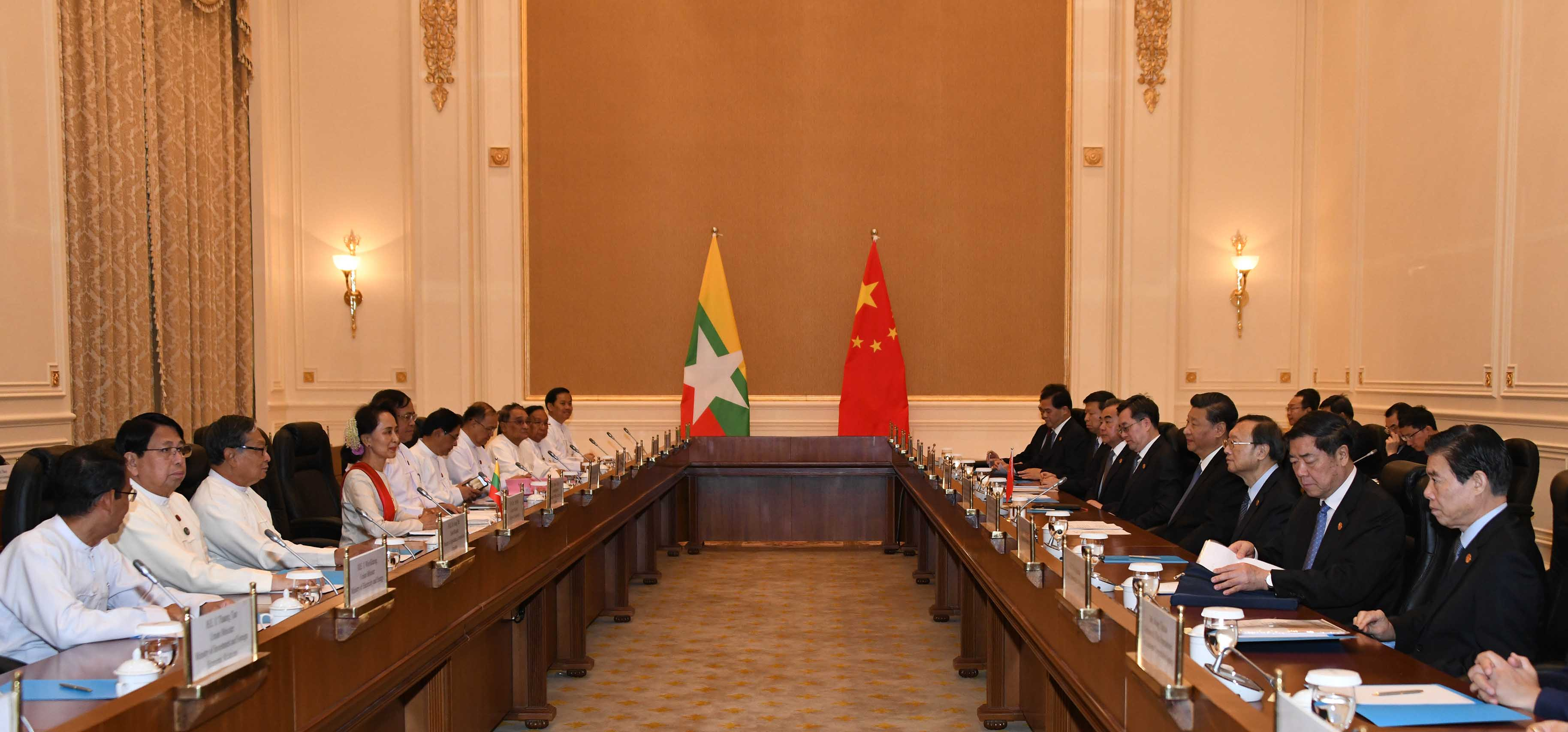 State Counsellor Daw Aung San Suu Kyi and President of the People's Republic of China Mr Xi Jinping holding the Myanmar-China bilateral talk. Photo: MNA