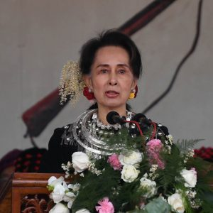 State Counsellor Daw Aung San Suu Kyi delivers the opening address at the 72nd Kachin State Day celebrations in Myitkyina, Kachin State yesterday.Photo: MNA