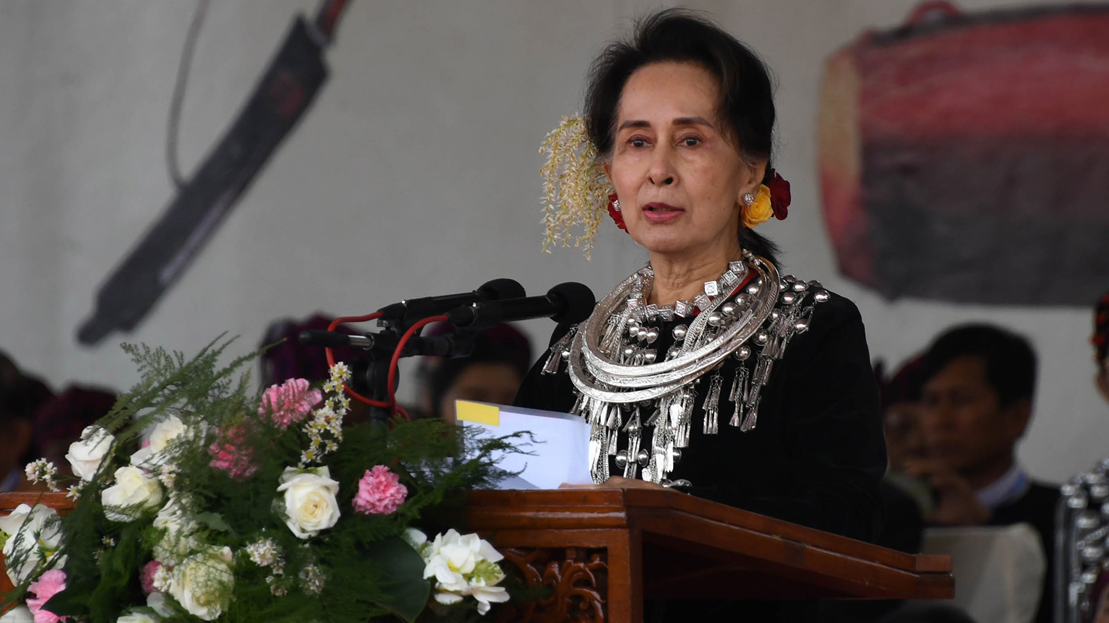 State Counsellor Daw Aung San Suu Kyi delivers the opening speech at the 72nd Kachin State Day celebrations in Myitkyina, Kachin State yesterday.Photo: MNA