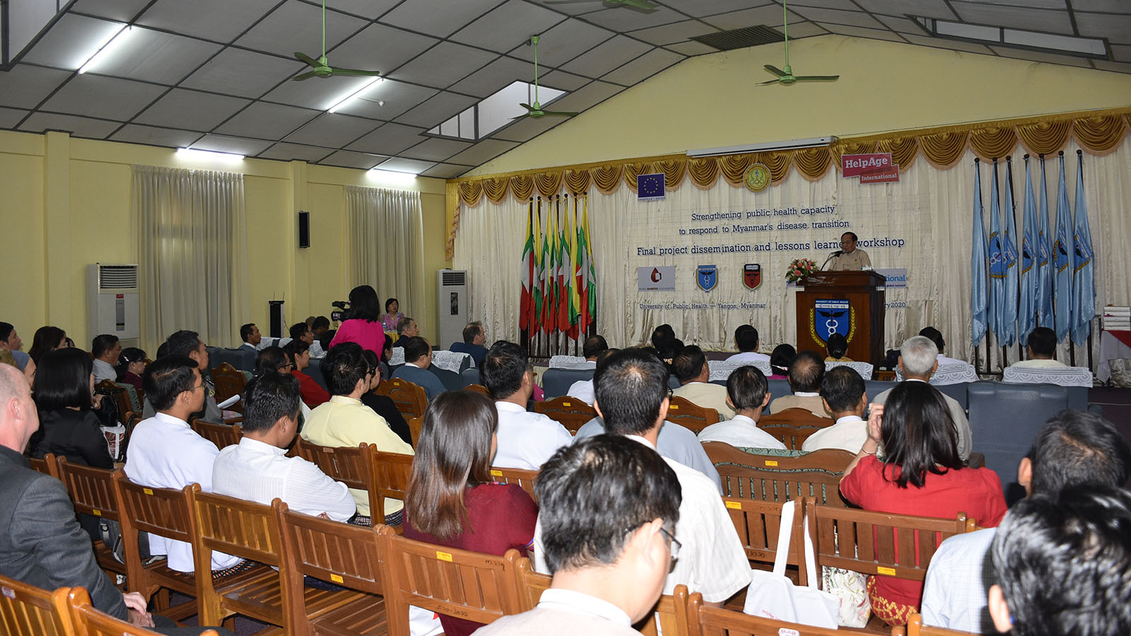 Union Minister Dr Myint Htwe delivers the speech at the Public Health Capacity Workshop in Yangon yesterday. Photo: MNA