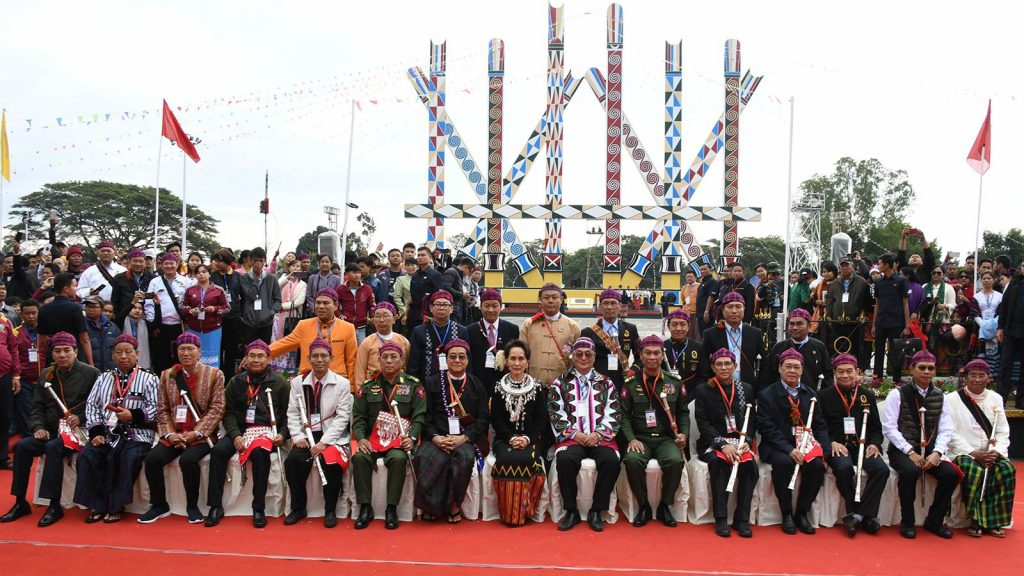 State Counsellor Daw Aung San Suu Kyi poses for a commemorative photo with Hluttaw representatives, Kachin ethnic leaders and officials at the celebration of 72nd Kachin State Day at the Manaw Ground of Myitkyina, Kachin State, yesterday.Photo: MNA