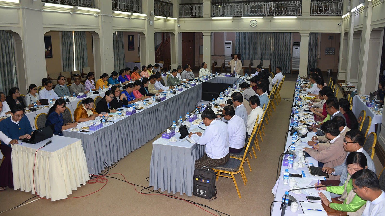 Union Minister Dr Myint Htwe addresses the coordination meeting for increasing preventive measures against the 2019 novel coronavirus in hospitals across Yangon Region in Yangon yesterday.Photo: MNA