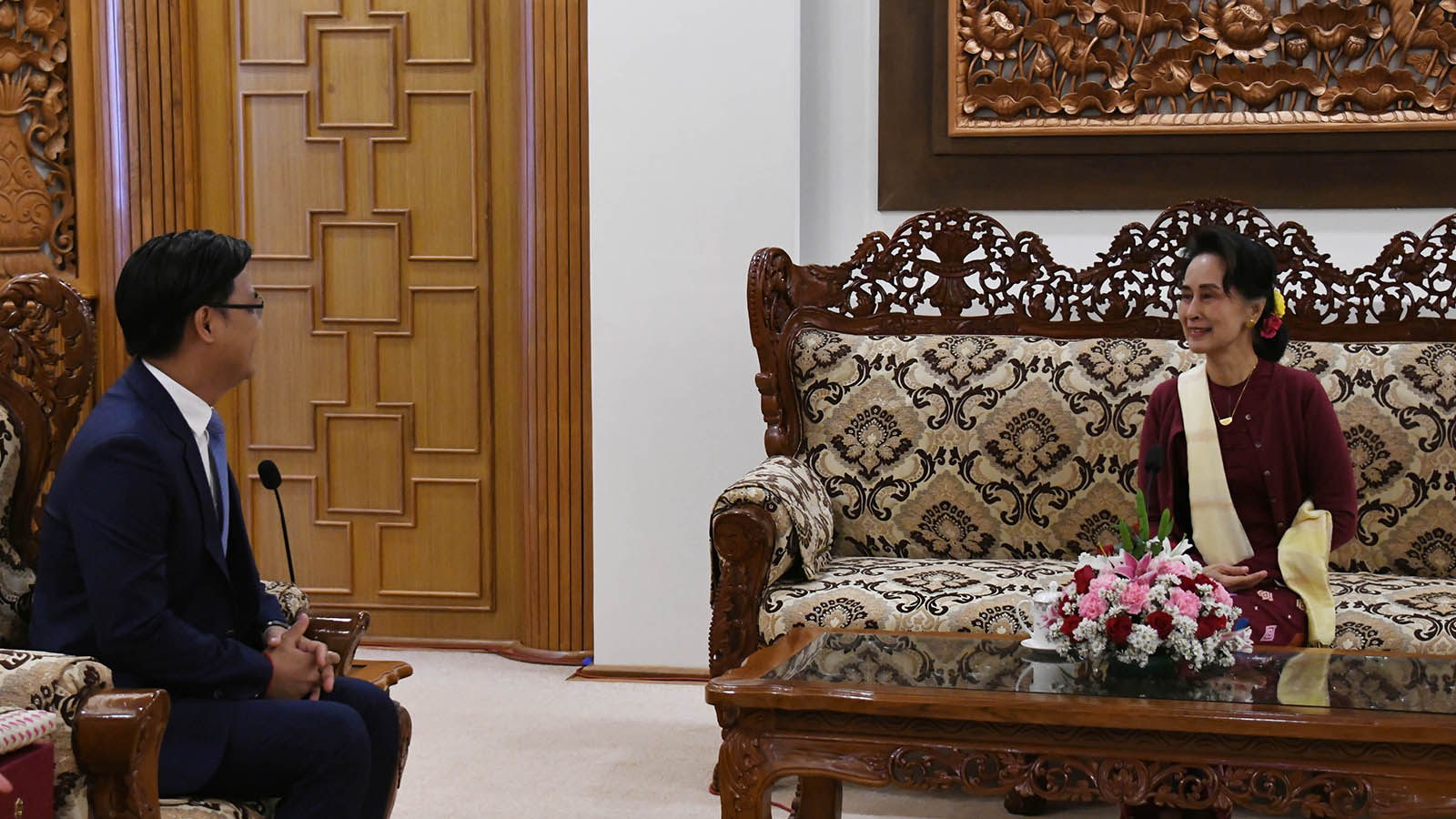 State Counsellor Daw Aung San Suu Kyi meets with Mr Chhouk Bunna, Ambassador of the Kingdom of Cambodia, at the Ministry of Foreign Affairs, Nay Pyi Taw on 14 January 2020.Photo: MNA