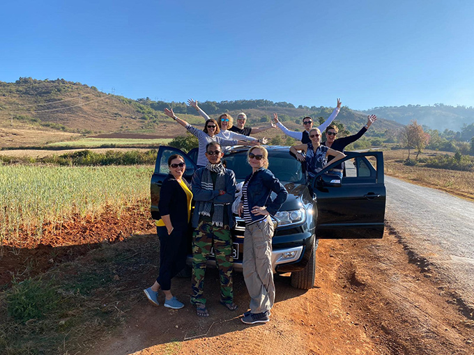A group of tourists pose for pictures on their way to Shan State. Photo: Supplied