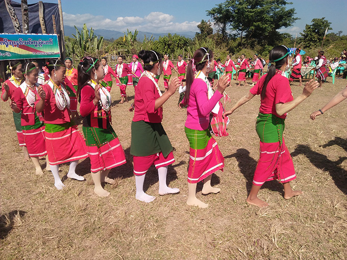 Naga ethnic women perform their traditional dances during the Naga New Year Festival in Mowailut on 15 January.Photo:Township IPRD