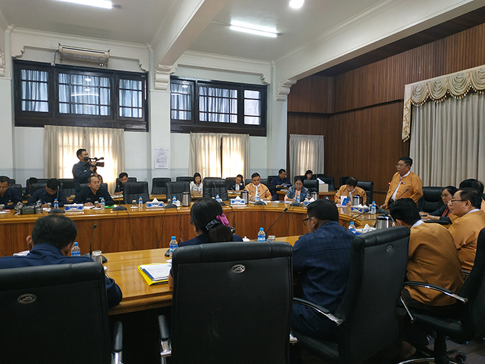 Yangon Mayor U Maung Maung Soe delivers the speech at the Yangon City Development Committee in Yangon. hoto: Supplied