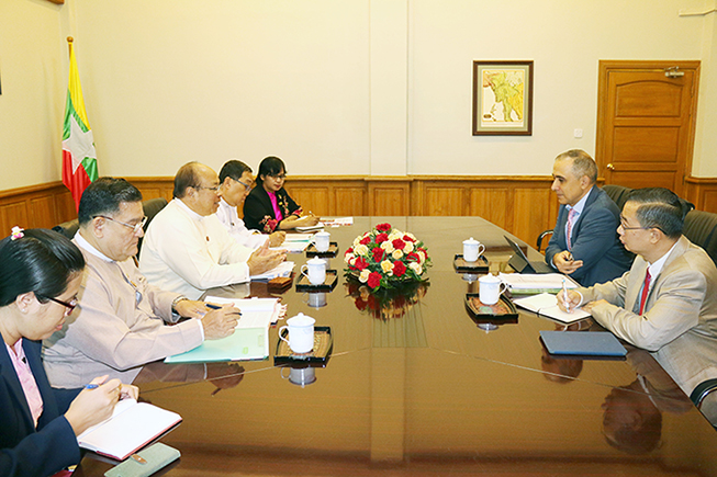 Union Minister U Thaung Tun meets with Mr. Gevorg Sargsyan, Country Director and Head of World Bank  Office in Myanmar in Nay Pyi Taw.Photo: MNA