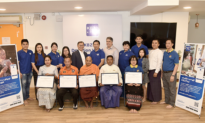 Representatives from five philanthropic organizations and the KBZPay team during the KBZPay Donation Handover ceremony held on 8 January 2020.Photo: KBZ