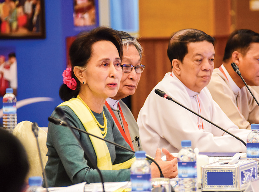 State Counsellor Daw Aung San Suu Kyi delivers the  at the 8th Joint Implementation Coordination Meeting for the Nationwide Ceasefire Agreement Implementation in Nay Pyi Taw yesterday.Photo: MNA