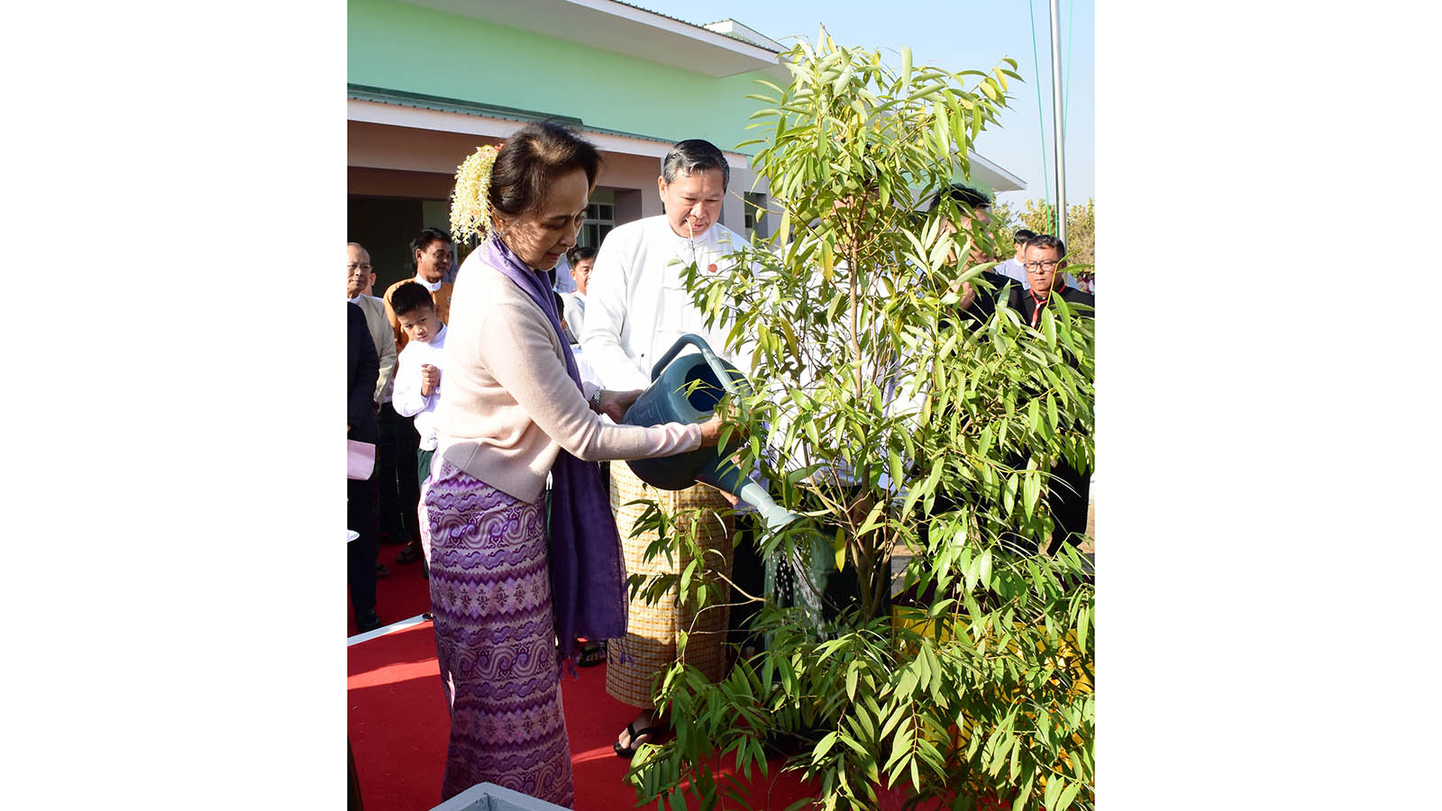 State Counsellor Daw Aung San Suu Kyi plants a Gangaw tree at the opening ceremony of the new 'model building' of Basic Education Primary School (Bawgawadi) in Nay Pyi Taw yesterday. Photo: MNA