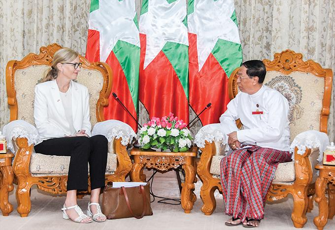 UEC Chairman U Hla Thein meets with Norwegian Ambassador Ms Tone Tinnes in Nay Pyi Taw yesterday.Photo: MNA