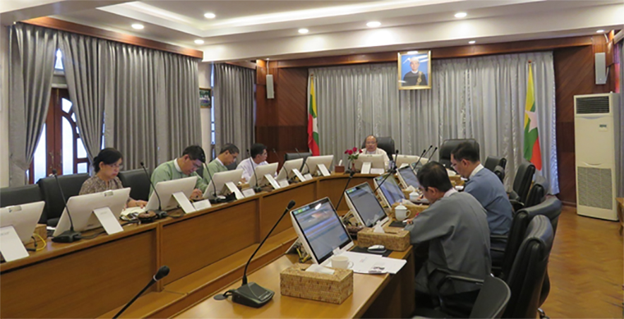 Union Minister U Thaung Tun and seven MIC members holds the Myanmar Investment Commission (MIC) meeting (2/2020) on 24 January, 2020 in Yangon.Photo: MNA