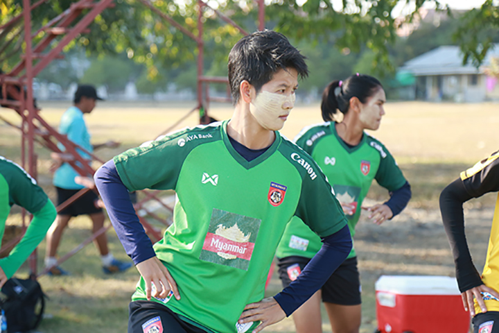 Players from the Myanmar women's national football team during a physical training session.Photo: MFF