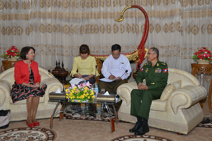 Union Minister Lt-Gen Sein Win meets United Nations Secretary General's Special Envoy on Myanmar Ms Christine Schraner Burgener in Nay Pyi Taw yesterday.Photo: MNA