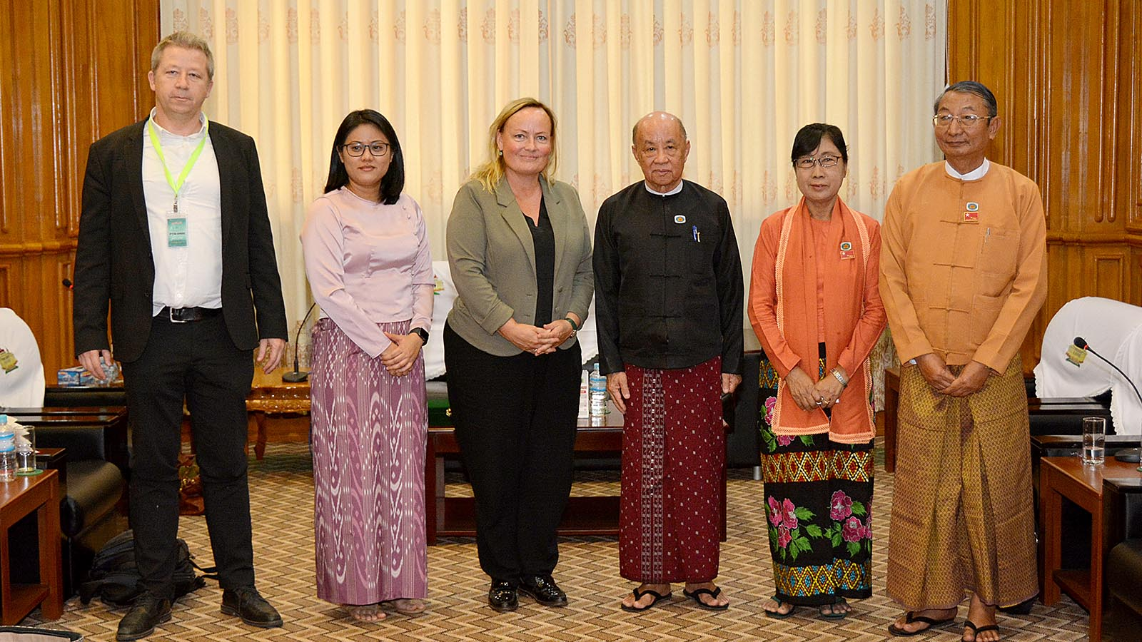 Pyithu Hluttaw Deputy Speaker U Tun Tun Hein and Director of Danish Institute for Parties and Democracy (DIPD) Mrs Lisbeth Pilegaard pose for a documentary photo in Nay Pyi Taw.Photo: MNA