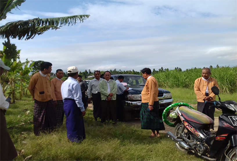 Amyotha Hluttaw Public Complaints Committee members making a field trip to Inndaung Forest Reserve in Htigyaing Township.