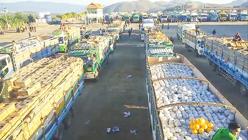 Trucks laden with watermelons wait for inspection to enter China. Photo: Thant Zin