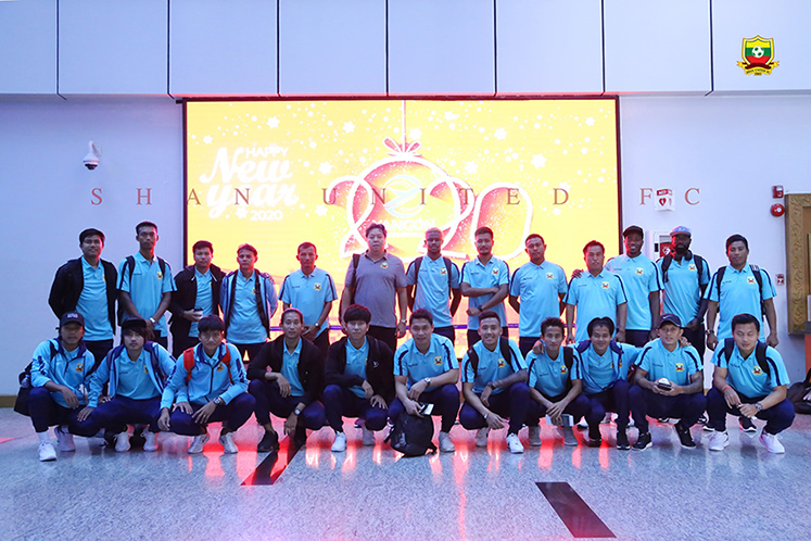 Shan United pose for a group photo at the Yangon International Airport before leaving for Manila, the Philippines. Photo: SUFC