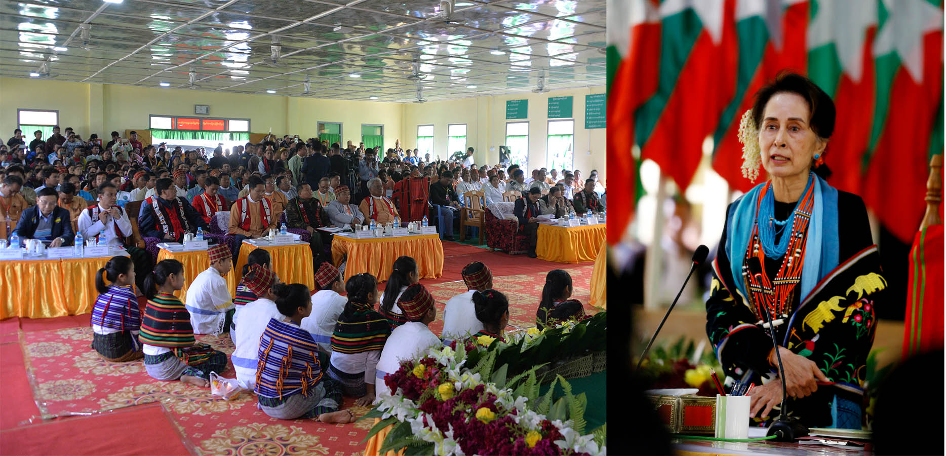 State Counsellor Daw Aung San Suu Kyi delivers the speech during the meeting with local people in Nanyun Township in Sagaing Region yesterday. Photo: MNA