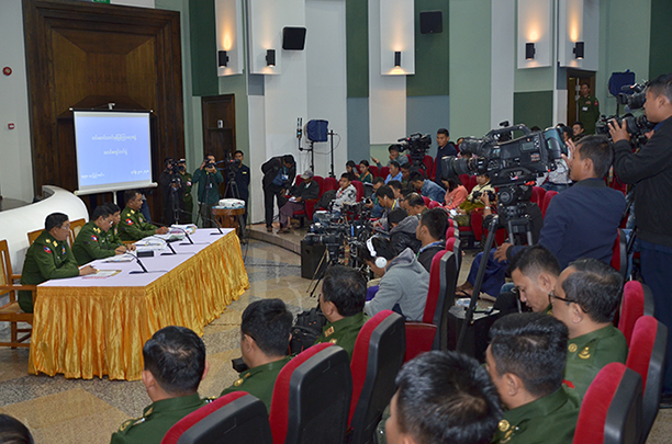 Tatmadaw True News Team holds a press conference at the Defence Services Museum in Nay Pyi Taw yesterday. Photo: MNA