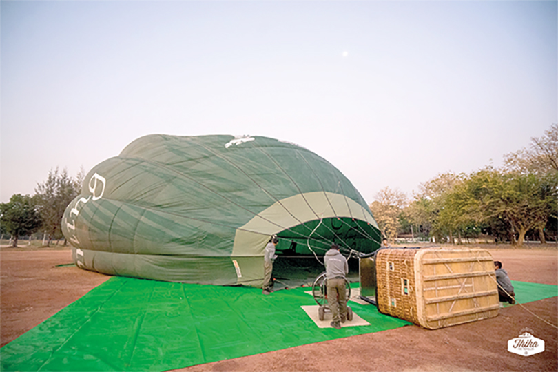 The balloon being inflated before flight across the sky of Hpa-an. Photo: Thiha Lulin