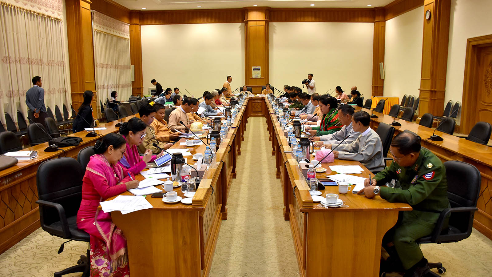 Joint Committee of Constitutional amendment meeting being held in Nay Pyi Taw yesterday.  Photo: MNA