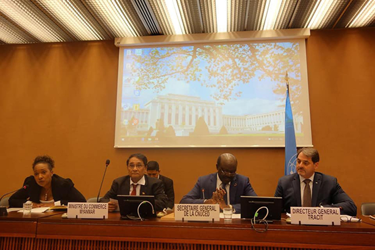 Union Minister for Commerce Dr Than Myint attends the Illicit Trade Forum in Geneva, Switzerland.  Photo: MNA
