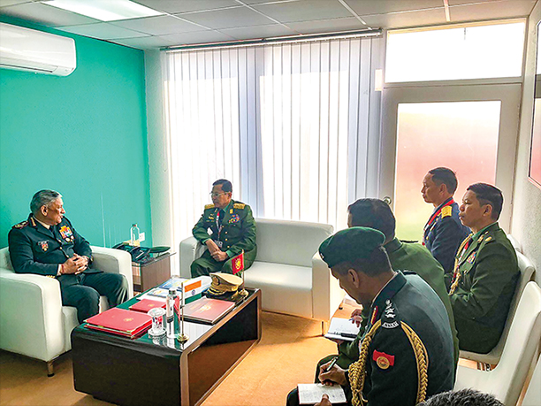 Vice Senior General Soe Win meets with General Bipin Rawat, Chief of Army Staff of the Indian Army in India.Photo: Office of the Commander-in-Chief