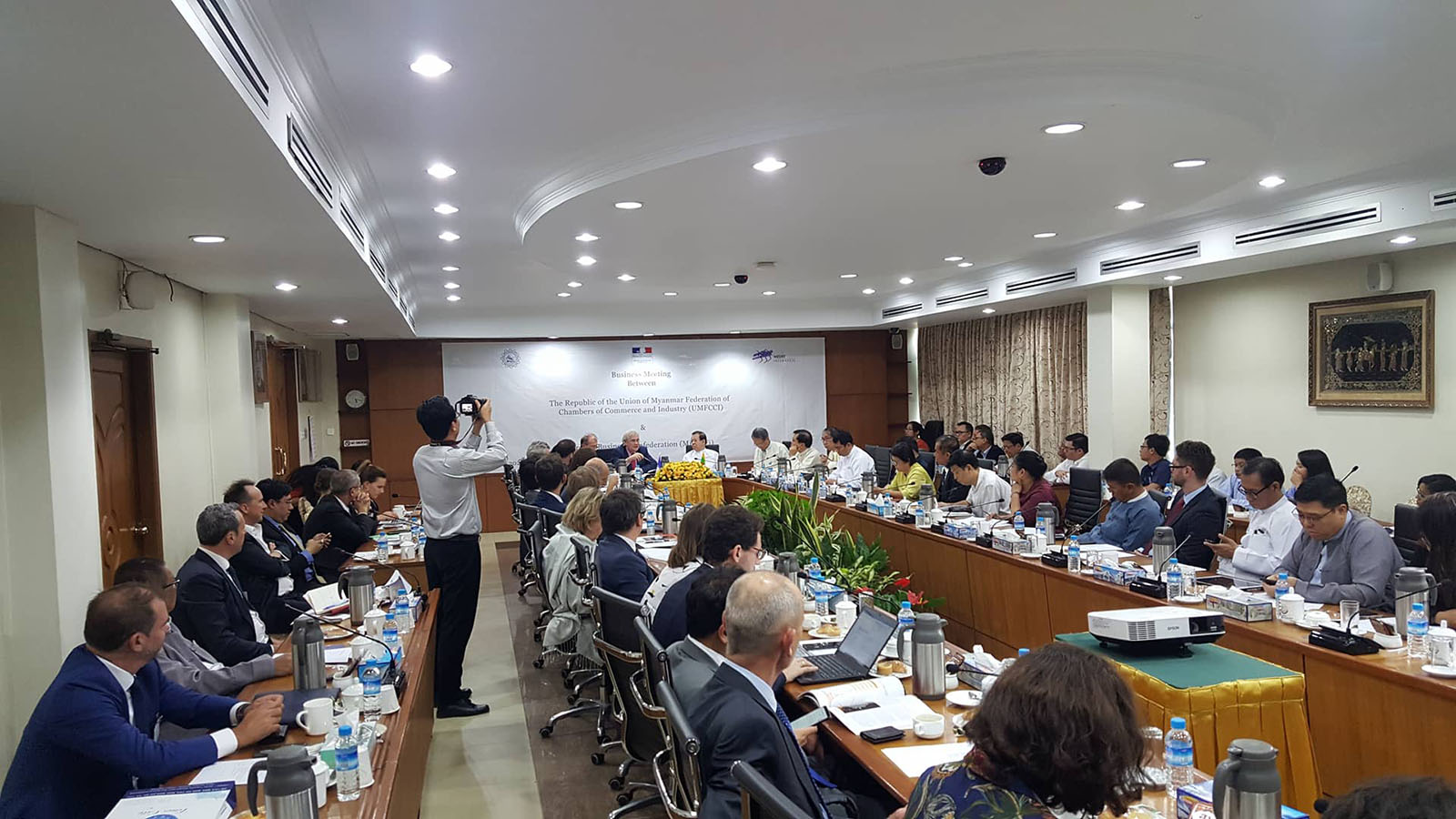 The business meeting between French businessmen and Myanmar officials being held in Yangon.  Photo: supplied