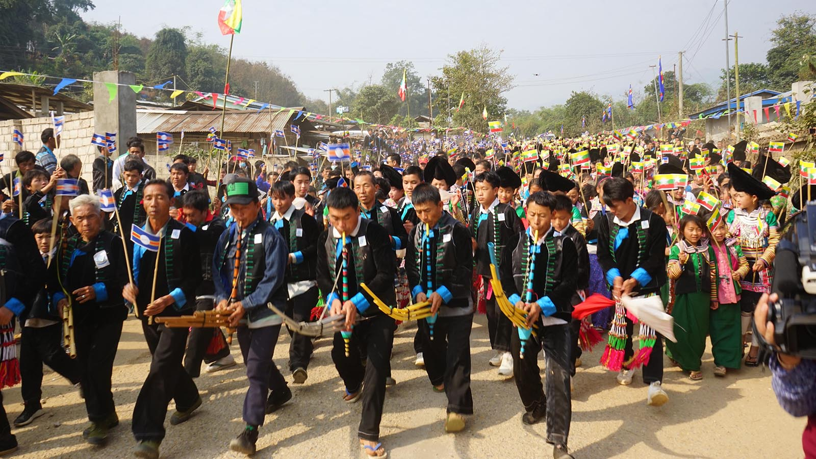 Myaung Zee or Hmont ethnic tribe celebrate their New Year festival at Sanpya village in Hopan, Wa Self-Administered Division yesterday. Photo: MNA