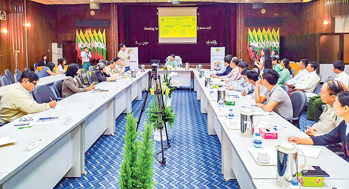 A press conference on the Housing Insurance Package (HIP) held in Yangon. Photo: Khin Maung Htwe