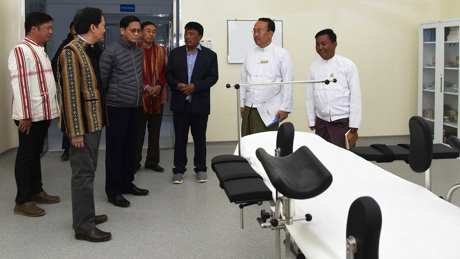 Vice President U Henry Van Thio observes the operation theatre at the Tikir Hospital in Thantlang, Chin State.Photo: MNA