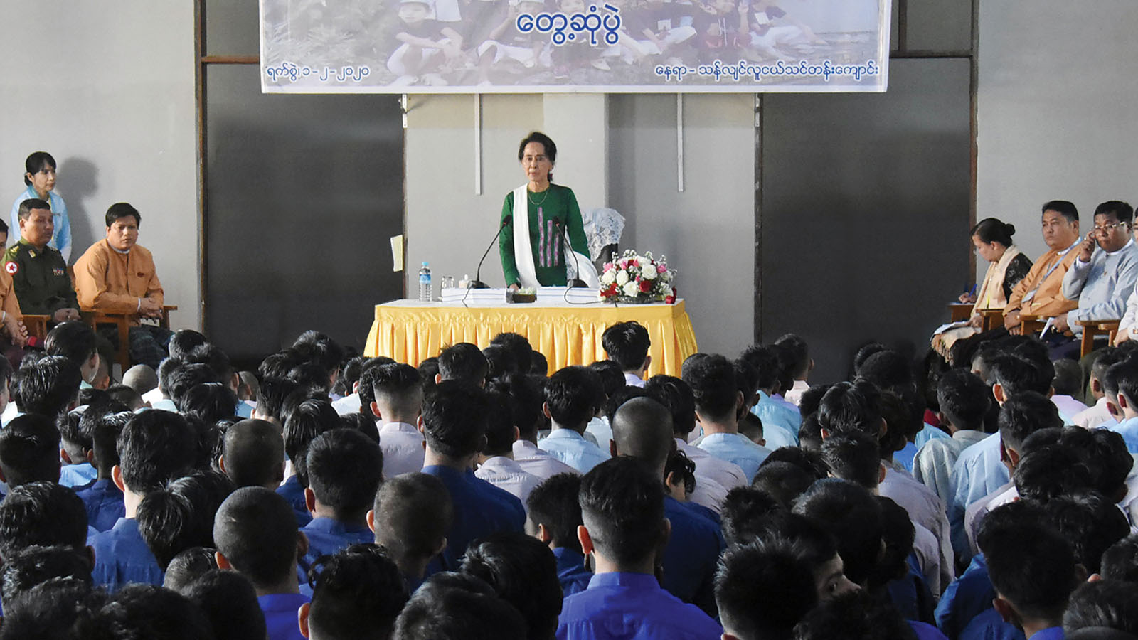 State Councellor Daw Aung San Suu Kyi meets with the trainees at the Thanlyin Youth Training School in Yangon yesterday. Photo: MNA