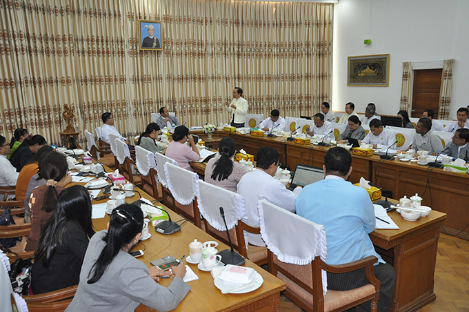 Union Minister for Health and Sports Dr Myint Htwe attends the daily meeting on prevention against Coronavirus Disease 2019 (COVID-19) in Nay Pyi Taw yesterday. Photo: MNA