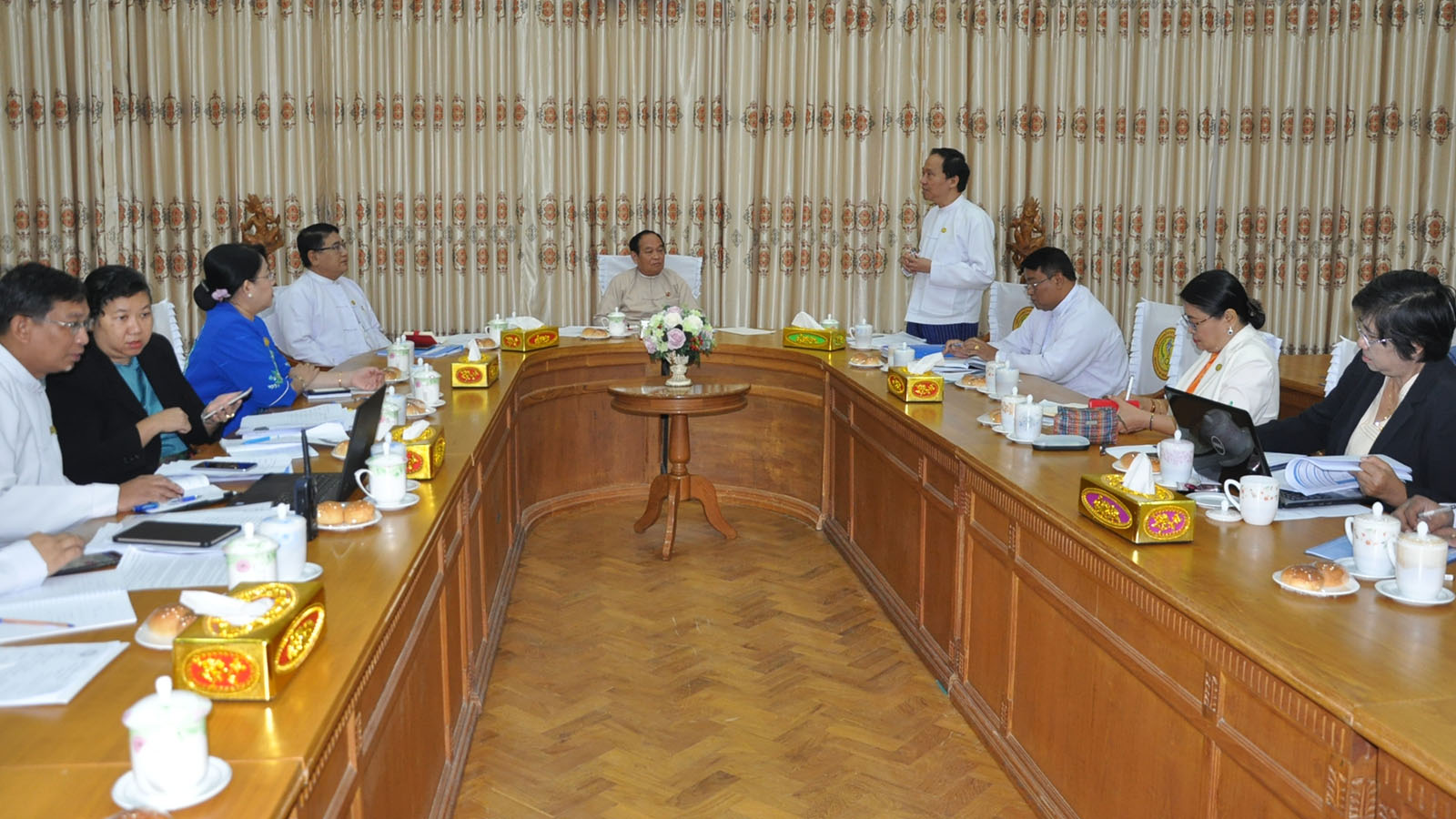 Central-level daily coordination meeting on surveillance and control of coronavirus being held in Nay Pyi Taw. Photo: MNA