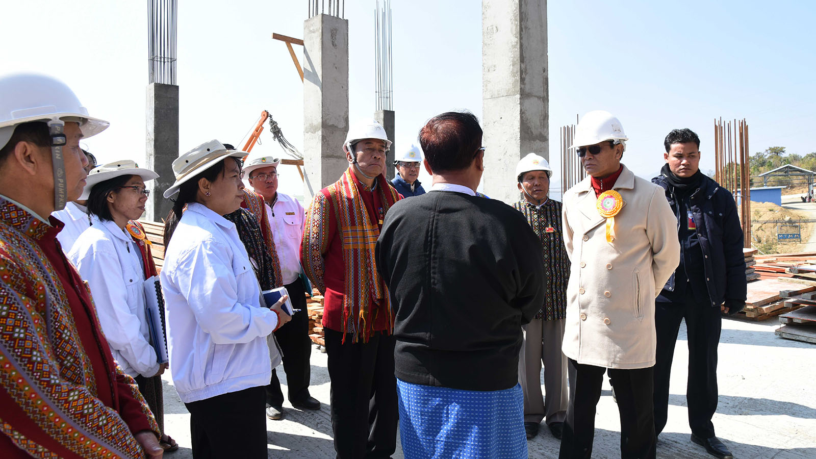Vice President U Henry Van Thio visits the construction site of the three-storey Chin State High Court. Photo: MNA